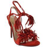 Rubina 57 Womens Fringe Open Toe High Heel Sandals Red 8.5