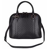 Gucci Women's Leather Medium Convertible Micro GG Dome Satchel Purse (Black 449663)