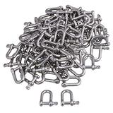 CNBTR D Ring Shackle Hardware Rigging European Style Chain with 22mm Pin Use With Tow Strap M4 304 Silver Stainless Steel Pack of 50