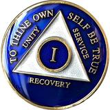 1 Year Blue Tri-Plate Alcoholics Anonymous Medallion- AA Sobriety Chip