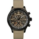 Timex Men's Expedition Field Chrono Quartz Analog Watch with Fabric Strap, Beige, 20 (Model: TW4B10200)