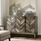 "Hooker Furniture 638-85092 Rustic 55"" Wide Chevron Pattern Wood Buffet Cabinet Console from Melange"
