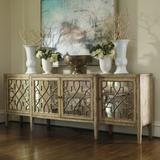 """Hooker Furniture 3013-85001 Contemporary 105"""" Wide Four Door Mirrored Console Buffet Cabinet"""