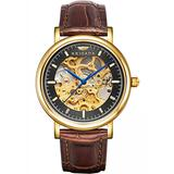 BRIGADA Men's Watches Swiss Brand Nice Classic Luxury Gold Black Hollow Mechanical Automatic Men's Watch Brown Leather Band