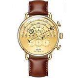 Luxury Men's Big Dial Chronograph Sapphire Glass Waterproof Quartz Brown Leather Gold Dial Watches