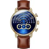 Luxury Men's Big Dial Chronograph Sapphire Glass Waterproof Quartz Black Leather Gold Watches (Gold case & Blue dial & Brown Strap)