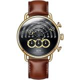 Luxury Men's Big Dial Chronograph Sapphire Glass Waterproof Quartz Black Leather Gold Watches (Gold case & Black dial & Brown Strap)