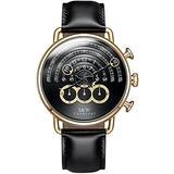 Luxury Men's Big Dial Chronograph Sapphire Glass Waterproof Quartz Black Leather Gold Watches (Gold case & Black dial & Black Strap)
