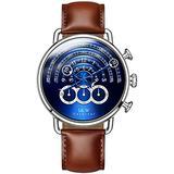 Luxury Men's Big Dial Chronograph Sapphire Glass Waterproof Quartz Black Leather Gold Watches (Silver case & Blue dial & Brown Strap)