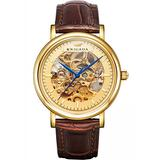 BRIGADA Men's Watches Swiss Brand Nice Classic Luxury Gold Hollow Mechanical Automatic Men's Watch Brown Leather Band