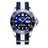LOREO Mens Stainless Steel Sapphire Glass Rotating Bezel Men's Automatic Date Week biue Nylon Band Watch