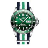 LOREO Mens Stainless Steel Sapphire Glass Rotating Bezel Men's Automatic Date Week Green Nylon Band Watch