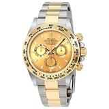 Rolex Oyster Perpetual Cosmograph Daytona 40mm Stainless Steel Case, 18K Yellow Gold Tachymeter Engraved Bezel, Champagne Dial, and Stainless Steel and 18K Yellow Gold Oysterlock Bracelet.