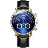 Luxury Men's Big Dial Chronograph Sapphire Glass Waterproof Quartz Black Leather Gold Watches (Gold case & Blue dial & Black Strap)