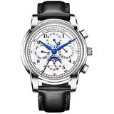 Men's Automatic Mechanical Watch Date Moon Phase 24-Hour Indication Calfskin Leather Transparent Watches (Black Leather-White)