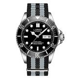 LOREO Mens Stainless Steel Sapphire Glass Rotating Bezel Men's Automatic Date Week Black Nylon Band Watch