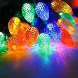 Commercial Outdoor Led String Lights with C9 Big Strawberry Bulbs,17 Foot 25 Colored Decorative Lights,Patio Garden Lights,Party Wedding Mood Lighting-Uzexon