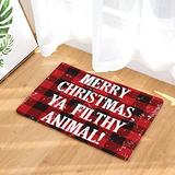 FANNEE Merry Christmas Door Mats Rug Non-Skid Slip Rubber Indoor Outdoor Kitchen Entry, Rustic Red Black Buffalo Check Plaid Pattern, 18x30 Inch