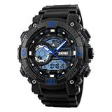 TONSHEN Men's Sport Watch LED Digital 50M Waterproof Outdoor Military Army Dual Time Analog Quartz Watch Plastic Case with Rubber Strap Multifunction Electronic Running Watch