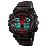 Men's Sport Watch LED Digital Outdoor 50M Waterproof Electronic Multifunction Military Army Wrist Watches Dual Timezone Backlight Calendar Alarm Plastic Watches -Red