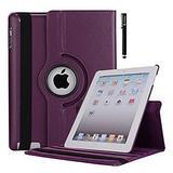 Apple iPad 2/3/4 Case-9.7 inch 360-Degree,Rotating Multi-Angle Stand Folio Cover Case with Smart Cover Auto Sleep Wake Feature for Apple iPad 2 iPad 3 & iPad 4th (Purple)