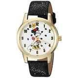 Disney Women's Minnie Mouse Analog-Quartz Watch with Leather-Synthetic Strap, Black, 16 (Model: WDS000262)
