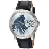 Disney Men's Beauty Analog-Quartz Watch with Leather-Synthetic Strap, Black, 22 (Model: WDS000309)