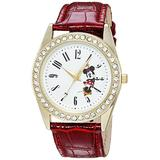 DISNEY Women's Minnie Mouse Analog-Quartz Watch with Leather-Synthetic Strap, red, 20 (Model: WDS000381)