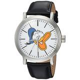 DISNEY Men's Donald Duck Analog-Quartz Watch with Leather-Synthetic Strap, Black, 22 (Model: WDS000338)