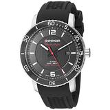 Wenger Men's Roadster Black Night Stainless Steel Swiss-Quartz Silicone Strap, 21.3 Casual Watch (Model: 01.1841.102)