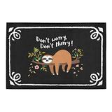 "WECE Funny Sloth Quotes Doormat, Don't Worry Don't Hurry Anti-Slip Indoor Outdoor Entrance Doormat Floor Mat Door Mat Rubber Backing, 23.6""(L) x 15.7""(W), 3/16"" Thickness"