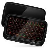 ILEBYGO 2.4Ghz Mini Wireless Keyboard Touchpad Combo with 3 Level Backlit Rechargeable Full Screen Remote Control for Android TV Box, Projector, IPTV, HTPC, PC, Laptop