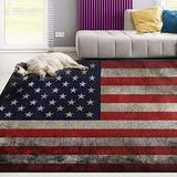 Naanle Vintage American USA Flag Area Rug 3'x5', Star Stripe Polyester Area Rug Mat for Living Dining Dorm Room Bedroom Home Decorative