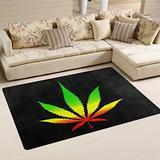 WOZO Marijuana Leaf Black Area Rug Rugs Non-Slip Floor Mat Doormats for Living Room Bedroom 31 x 20 inches