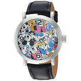 DISNEY Men's Mickey Mouse Analog-Quartz Watch with Leather-Synthetic Strap, Black, 20 (Model: WDS000343)