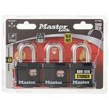 Master Lock 311TRI Keyed Alike Laminated Steel Padlock , 3-Pack , Black