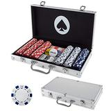 Poker Chip Set for Texas Holdem, Blackjack, Gambling with Carrying Case, Cards, Buttons and Dice Style Casino Chips (11.5 gram) by Trademark Poker