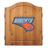 NBA Charlotte Bobcats Solid Pine Cabinet And Bristle Dartboard Set