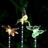 Dolucky Solar Lights Outdoor, Solar Garden 7-Color-Changing Garden Lights,Hummingbird Butterfly Dragonfly for Outdoor Decor,Garden, Path, Yard, Lawn, Patio, 3 Pack