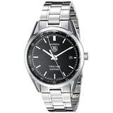 TAG Heuer Men's WV2115.BA0787 Carrera Calibre 7 Twin Time Automatic Black Dial Steel Bracelet Watch