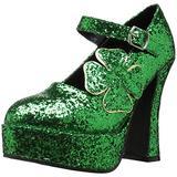 Ellie Shoes Women's 557-Lucky Glitter Maryjane Platform Pump, Green Glitter, 8 M US