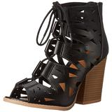 Qupid Women's Barnes 15A Gladiator Sandal, Black, 5.5 M US