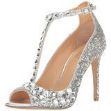 Jewel Badgley Mischka Women's Conroy Dress Sandal, Silver Glitter, 7.5 M US