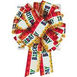 "Qualatex Incredibow Pre-Made Gift Bows, 10"", Happy Birthday"