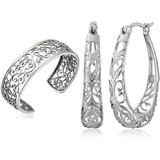 Sterling Silver Filigree Earrings and Cuff Set