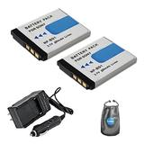 Amsahr FD1-2CT Digital Replacement Battery PLUS Battery Travel Charger for Sony NPFD1, DSC-T70 with Lens Accessories Pouch (Gray)