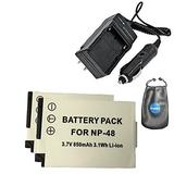 Amsahr S-NP48-2CT, Pack-2, Digital Replacement Battery Plus Travel Charger for Fujifilm NP-48, XQ1 - Includes Lens Accessories Pouch (Gray)