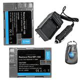 Amsahr S-NP150-2CT, Pack-2, Digital Replacement Battery Plus Travel Charger for FujiFilm NP150, Finepix - Includes Lens Accessories Pouch (Gray)