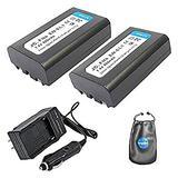 Amsahr S-ENEL1-2CT, Pack-2, Digital Replacement Battery Plus Travel Charger for Nikon EN-EL1, Coolpix - Includes Lens Accessories Pouch (Gray)