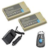 Amsahr SP90A-2CT Digital Replacement Battery PLUS Battery Travel Charger for SAMSUNG SP90A, SB-90ASL with Lens Accessories Pouch (Gray)